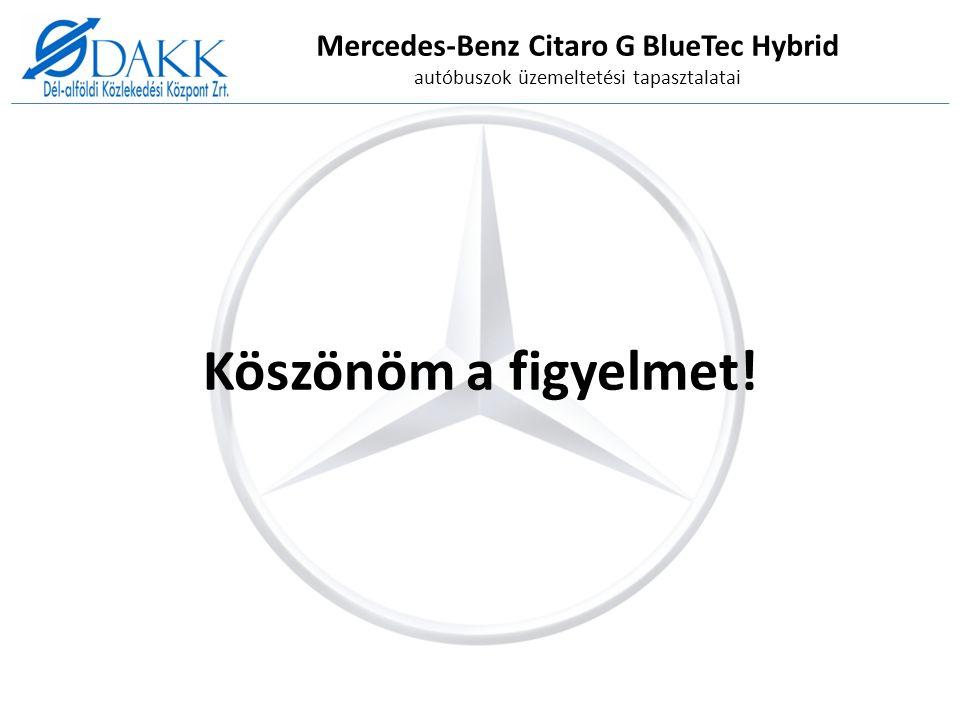Mercedes-Benz Citaro G BlueTec Hybrid autóbuszok üzemeltetési tapasztalatai Köszönöm a figyelmet!