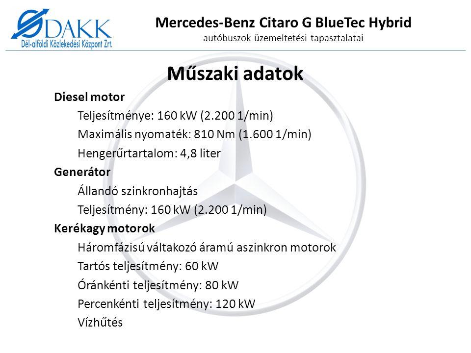 Mercedes-Benz Citaro G BlueTec Hybrid autóbuszok üzemeltetési tapasztalatai Műszaki adatok Akkumulátor Líthium-Ion akkumulátor Kapacitás: 26 kWh Teljesítmény hirtelen terhelésnél (10 sec): max.
