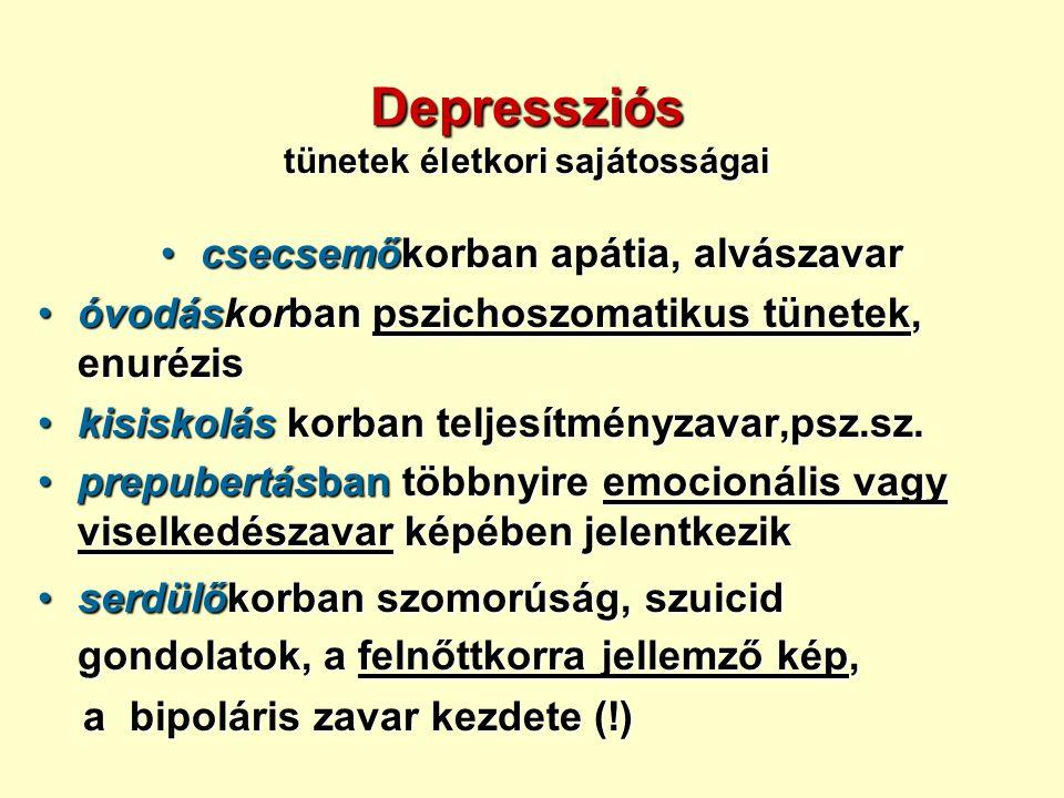 Depressziós tünetek életkori sajátosságai csecsemőkorban apátia, alvászavarcsecsemőkorban apátia, alvászavar óvodáskorban pszichoszomatikus tünetek, enurézisóvodáskorban pszichoszomatikus tünetek, enurézis kisiskolás korban teljesítményzavar,psz.sz.kisiskolás korban teljesítményzavar,psz.sz.