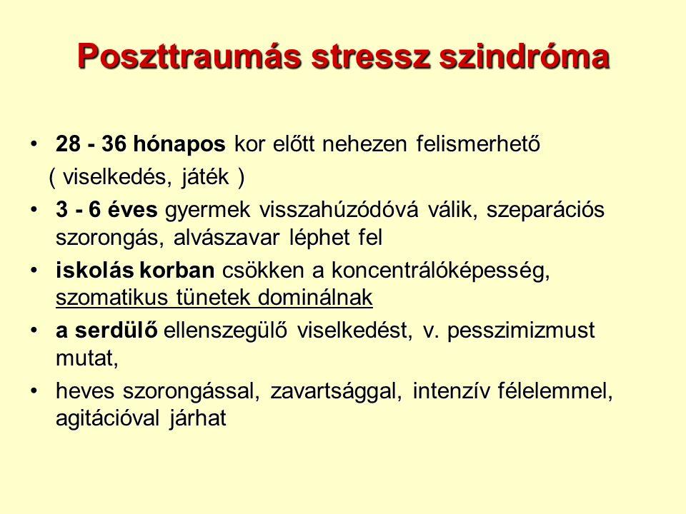 Poszttraumás stressz szindróma 28 - 36 hónapos kor előtt nehezen felismerhető28 - 36 hónapos kor előtt nehezen felismerhető ( viselkedés, játék ) ( viselkedés, játék ) 3 - 6 éves gyermek visszahúzódóvá válik, szeparációs szorongás, alvászavar léphet fel3 - 6 éves gyermek visszahúzódóvá válik, szeparációs szorongás, alvászavar léphet fel iskolás korban csökken a koncentrálóképesség, szomatikus tünetek dominálnakiskolás korban csökken a koncentrálóképesség, szomatikus tünetek dominálnak a serdülő ellenszegülő viselkedést, v.