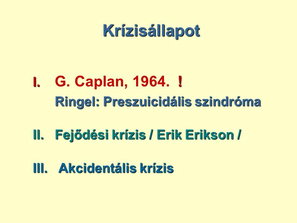 Krízisállapot I. I. G. Caplan, 1964.