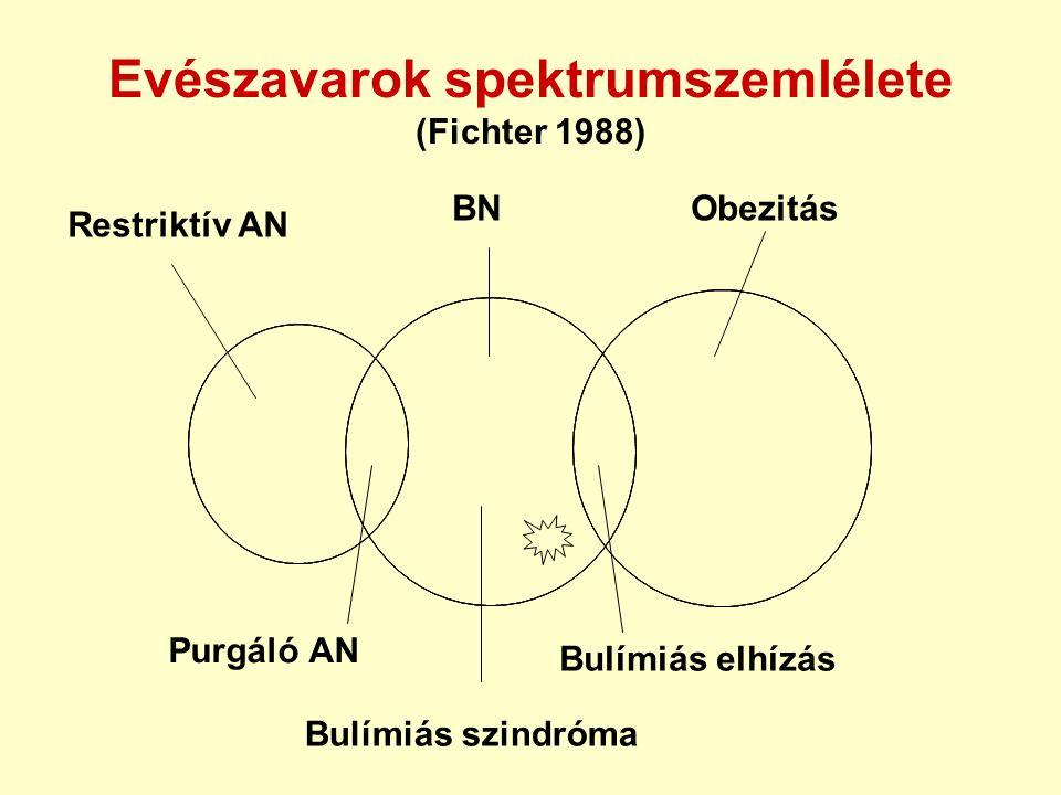 Evészavarok spektrumszemlélete (Fichter 1988) Restriktív AN BNObezitás Purgáló AN Bulímiás szindróma Bulímiás elhízás