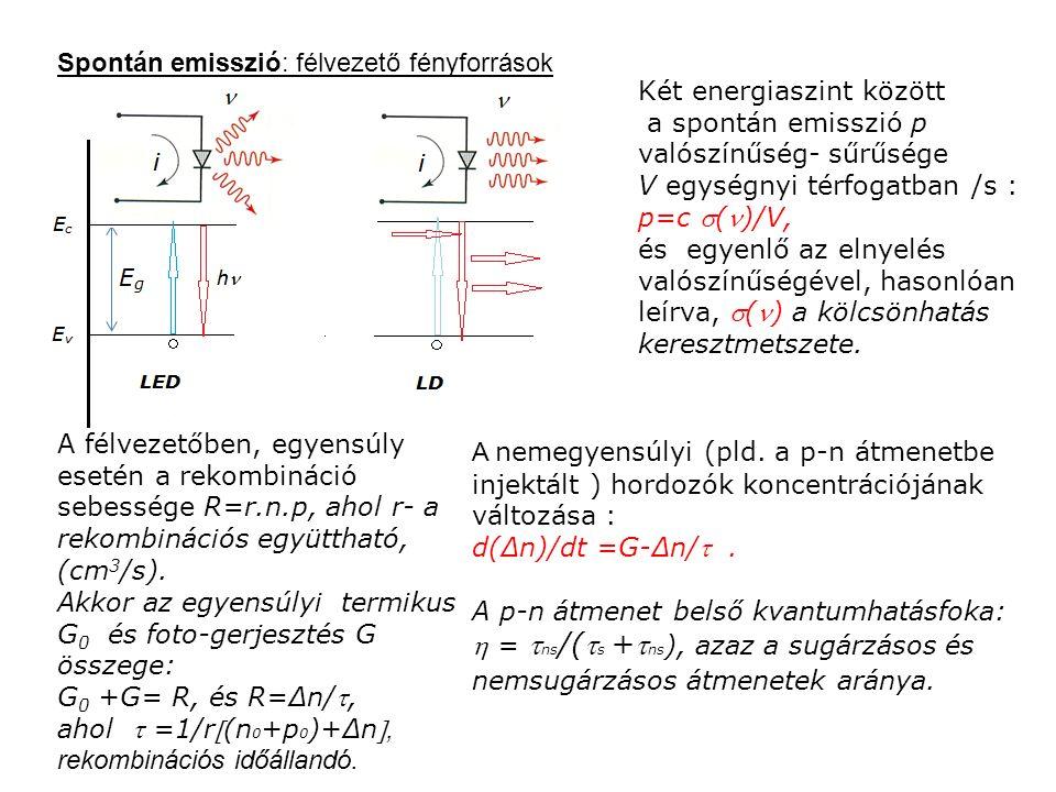 Spontán emisszió: félvezető fényforrások Két energiaszint között a spontán emisszió p valószínűség- sűrűsége V egységnyi térfogatban /s : p=c ()/V, és egyenlő az elnyelés valószínűségével, hasonlóan leírva, () a kölcsönhatás keresztmetszete.