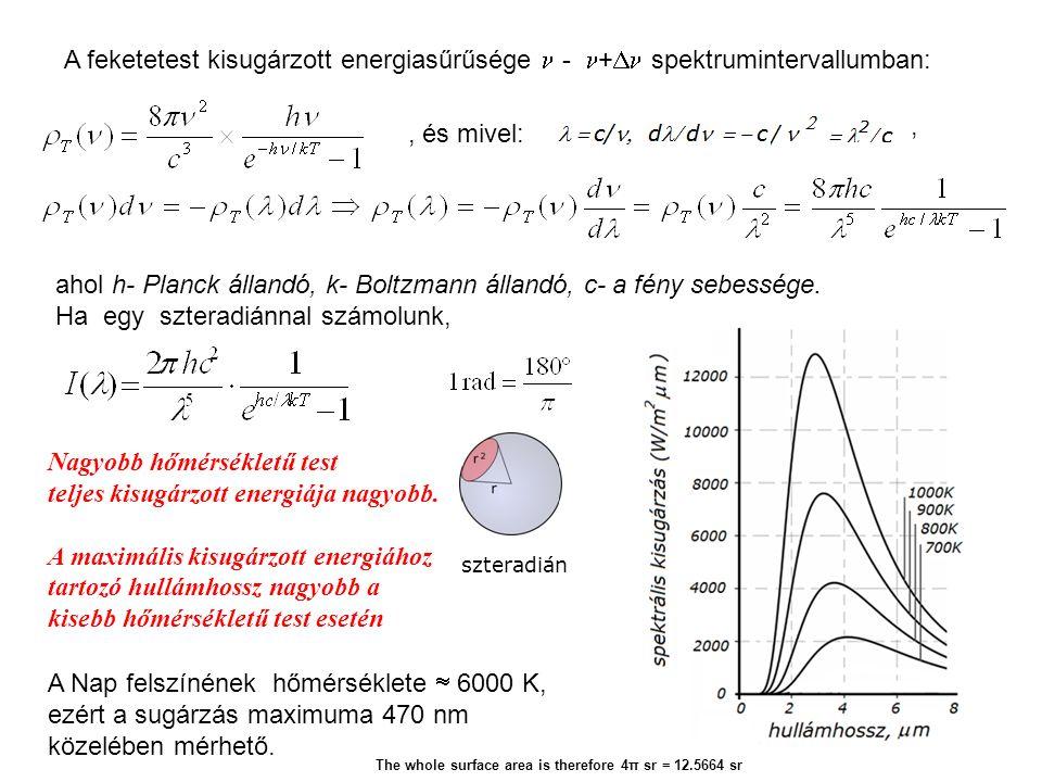 A feketetest kisugárzott energiasűrűsége - +  spektrumintervallumban: ahol h- Planck állandó, k- Boltzmann állandó, c- a fény sebessége.