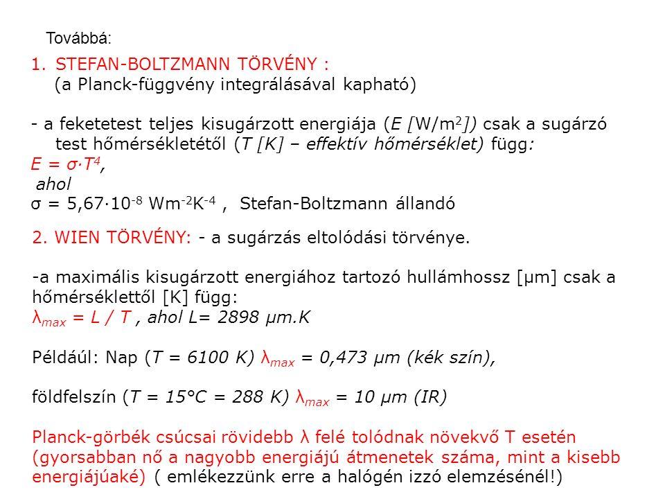 Továbbá: 1.STEFAN-BOLTZMANN TÖRVÉNY : (a Planck-függvény integrálásával kapható) - a feketetest teljes kisugárzott energiája (E [W/m 2 ]) csak a sugárzó test hőmérsékletétől (T [K] – effektív hőmérséklet) függ: E = σ·T 4, ahol σ = 5,67·10 -8 Wm -2 K -4, Stefan-Boltzmann állandó 2.
