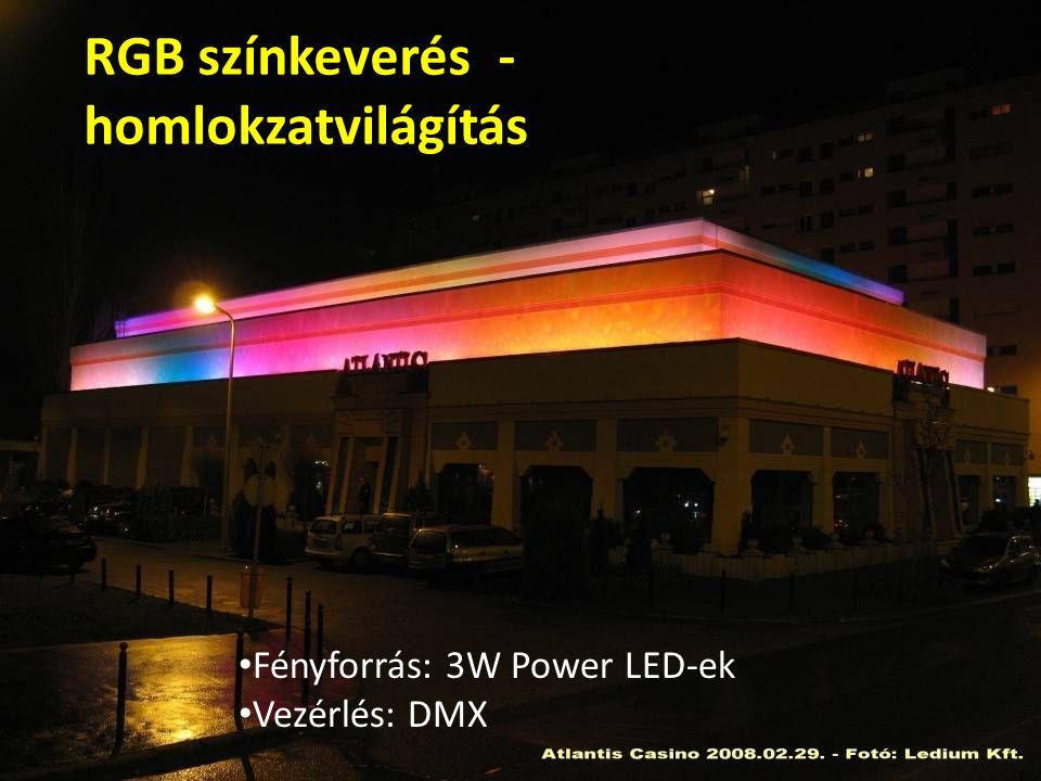 RGB színkeverés - homlokzatvilágítás Fényforrás: 3W Power LED-ek Vezérlés: DMX