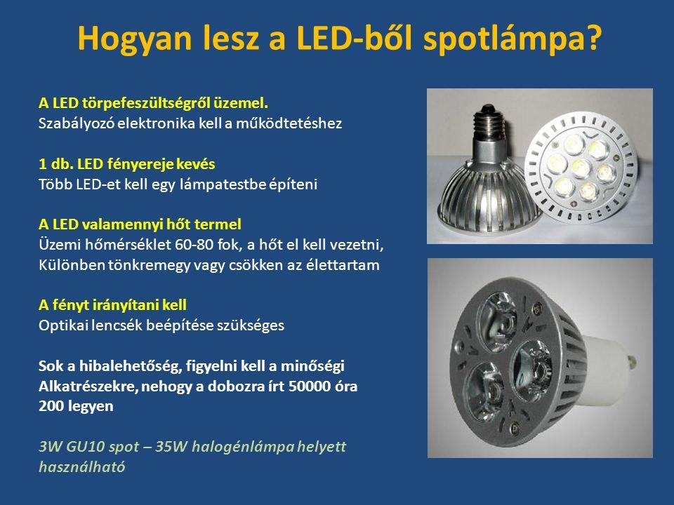 A LED törpefeszültségről üzemel. Szabályozó elektronika kell a működtetéshez 1 db.