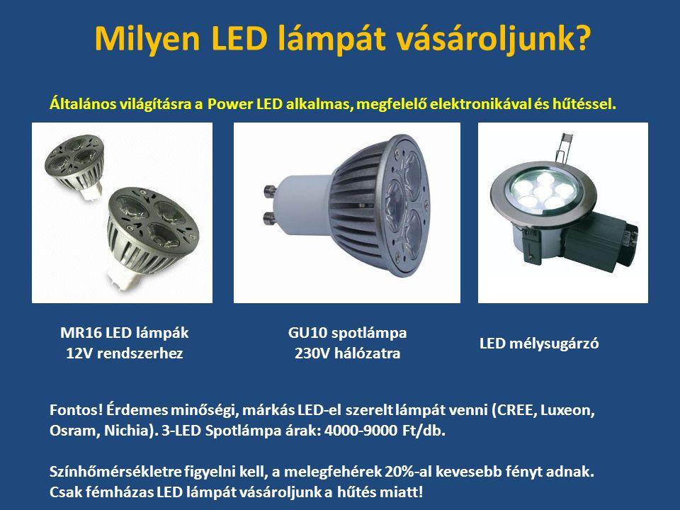 Általános világításra a Power LED alkalmas, megfelelő elektronikával és hűtéssel.
