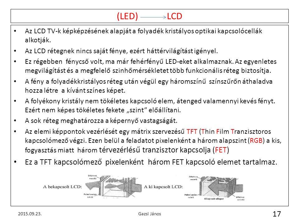 (LED) LCD Az LCD TV-k képképzésének alapját a folyadék kristályos optikai kapcsolócellák alkotják. Az LCD rétegnek nincs saját fénye, ezért háttérvilá