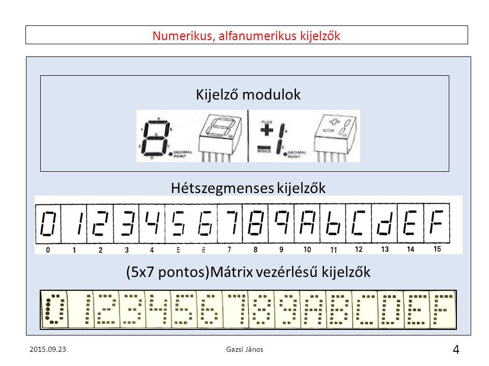 Numerikus, alfanumerikus kijelzők Kijelző modulok Hétszegmenses kijelzők (5x7 pontos)Mátrix vezérlésű kijelzők 2015.09.23.Gazsi János 4
