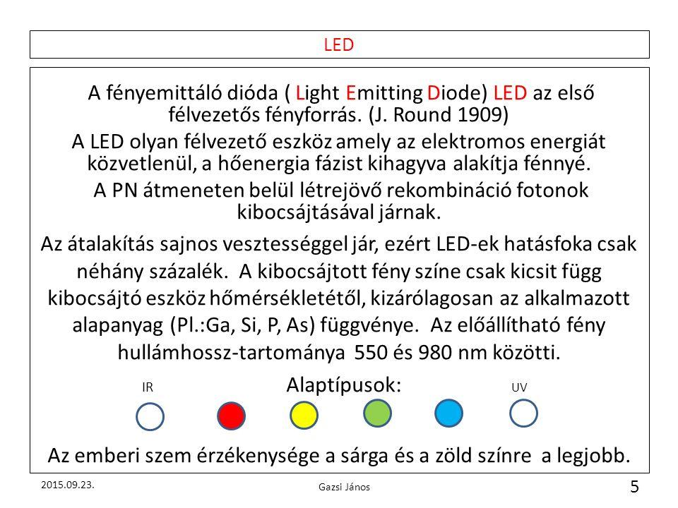 LED A fényemittáló dióda ( Light Emitting Diode) LED az első félvezetős fényforrás. (J. Round 1909) A LED olyan félvezető eszköz amely az elektromos e