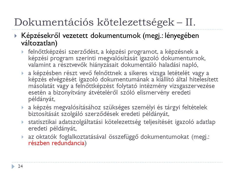 Dokumentációs kötelezettségek – II.  Képzésekről vezetett dokumentumok (megj.: lényegében változatlan)  felnőttképzési szerződést, a képzési program