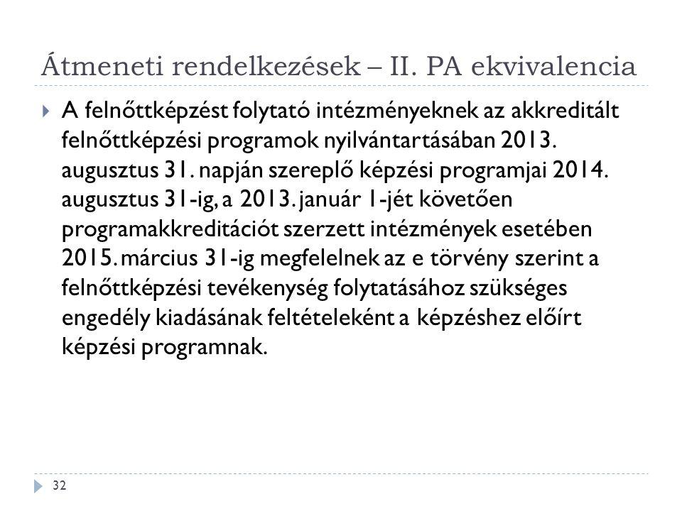 Átmeneti rendelkezések – II. PA ekvivalencia  A felnőttképzést folytató intézményeknek az akkreditált felnőttképzési programok nyilvántartásában 2013