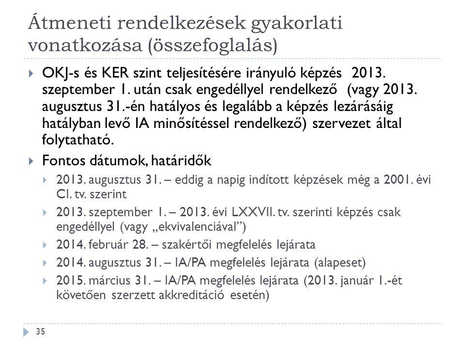 Átmeneti rendelkezések gyakorlati vonatkozása (összefoglalás)  OKJ-s és KER szint teljesítésére irányuló képzés 2013. szeptember 1. után csak engedél