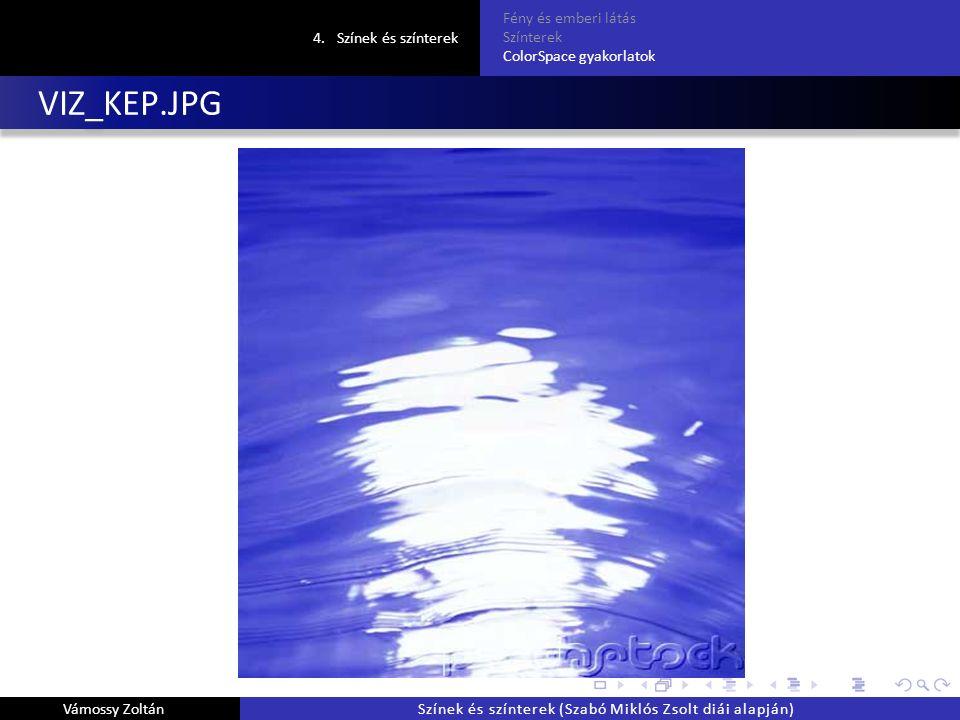 VIZ_KEP.JPG 4.Színek és színterek Fény és emberi látás Színterek ColorSpace gyakorlatok Vámossy ZoltánSzínek és színterek (Szabó Miklós Zsolt diái alapján)