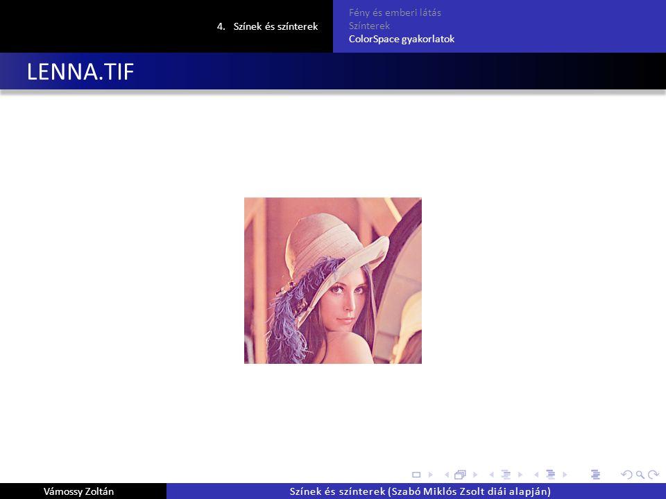 LENNA.TIF 4.Színek és színterek Fény és emberi látás Színterek ColorSpace gyakorlatok Vámossy ZoltánSzínek és színterek (Szabó Miklós Zsolt diái alapján)