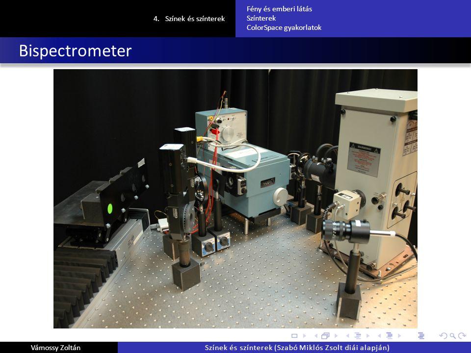Bispectrometer 4.Színek és színterek Fény és emberi látás Színterek ColorSpace gyakorlatok Vámossy ZoltánSzínek és színterek (Szabó Miklós Zsolt diái alapján)