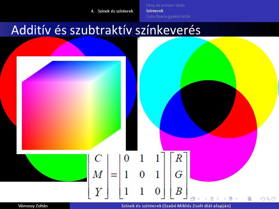 Additív és szubtraktív színkeverés 4.Színek és színterek Fény és emberi látás Színterek ColorSpace gyakorlatok Vámossy ZoltánSzínek és színterek (Szabó Miklós Zsolt diái alapján)