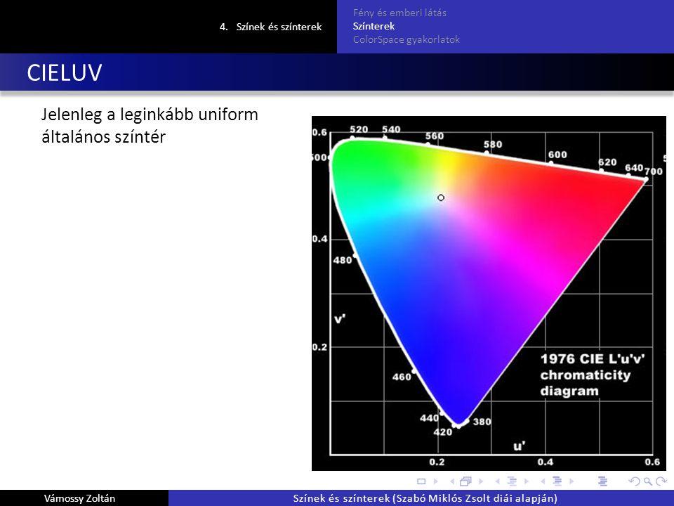 CIELUV Jelenleg a leginkább uniform általános színtér 4.Színek és színterek Fény és emberi látás Színterek ColorSpace gyakorlatok Vámossy ZoltánSzínek és színterek (Szabó Miklós Zsolt diái alapján)