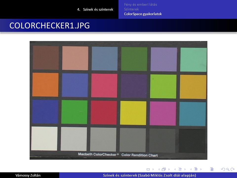 COLORCHECKER1.JPG 4.Színek és színterek Fény és emberi látás Színterek ColorSpace gyakorlatok Vámossy ZoltánSzínek és színterek (Szabó Miklós Zsolt diái alapján)