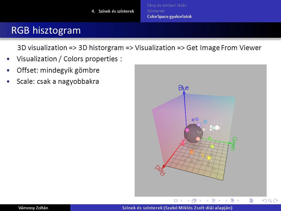 RGB hisztogram 3D visualization => 3D historgram => Visualization => Get Image From Viewer Visualization / Colors properties : Offset: mindegyik gömbre Scale: csak a nagyobbakra 4.Színek és színterek Fény és emberi látás Színterek ColorSpace gyakorlatok Vámossy ZoltánSzínek és színterek (Szabó Miklós Zsolt diái alapján)