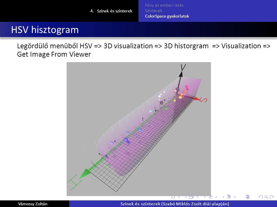 HSV hisztogram Legördülő menüből HSV => 3D visualization => 3D historgram => Visualization => Get Image From Viewer 4.Színek és színterek Fény és emberi látás Színterek ColorSpace gyakorlatok Vámossy ZoltánSzínek és színterek (Szabó Miklós Zsolt diái alapján)