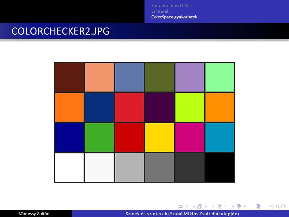 COLORCHECKER2.JPG Fény és emberi látás Színterek ColorSpace gyakorlatok Vámossy ZoltánSzínek és színterek (Szabó Miklós Zsolt diái alapján)