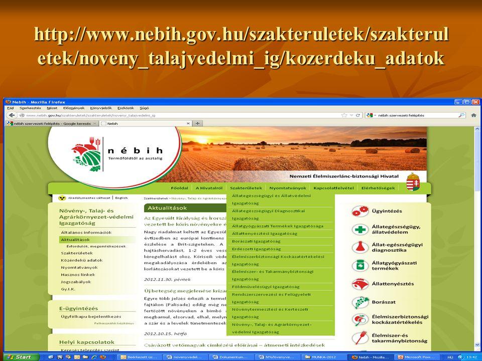 http://www.nebih.gov.hu/szakteruletek/szakterul etek/noveny_talajvedelmi_ig/kozerdeku_adatok