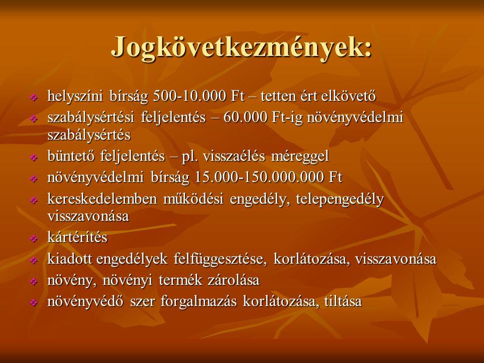 Jogkövetkezmények:  helyszíni bírság 500-10.000 Ft – tetten ért elkövető  szabálysértési feljelentés – 60.000 Ft-ig növényvédelmi szabálysértés  büntető feljelentés – pl.
