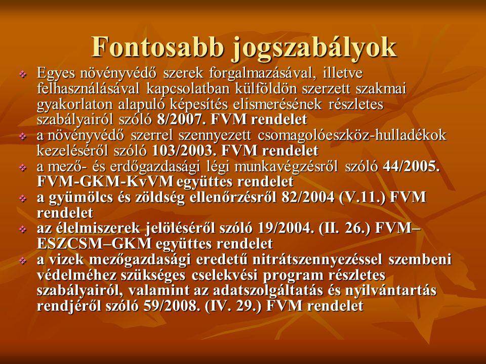 Fontosabb jogszabályok 2008.évi XLVI. Élt. 2008. évi XLVI.