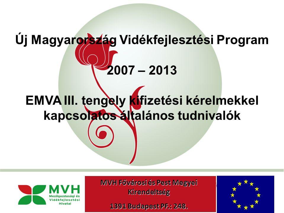"""""""New Hungary"""" Rural Development Programme 2007-2013 Új Magyarország Vidékfejlesztési Program 2007 – 2013 EMVA III. tengely kifizetési kérelmekkel kapc"""