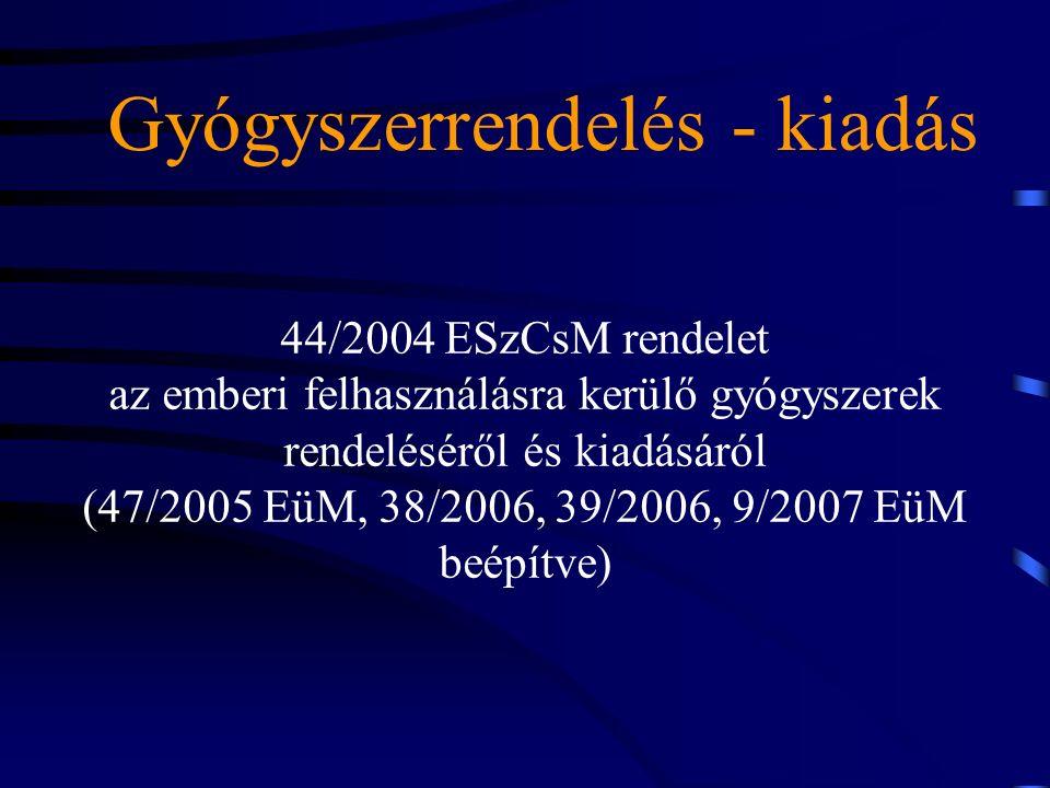 Gyógyszerrendelés - kiadás 44/2004 ESzCsM rendelet az emberi felhasználásra kerülő gyógyszerek rendeléséről és kiadásáról (47/2005 EüM, 38/2006, 39/2006, 9/2007 EüM beépítve)