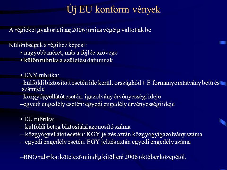 Új EU konform vények A régieket gyakorlatilag 2006 június végéig váltották be Különbségek a régihez képest: nagyobb méret, más a fejléc szövege külön rubrika a születési dátumnak ENY rubrika: –külföldi biztosított esetén ide kerül: országkód + E formanyomtatvány betű és számjele –közgyógyellátót esetén: igazolvány érvényességi ideje –egyedi engedély esetén: egyedi engedély érvényességi ideje EU rubrika: – külföldi beteg biztosítási azonosító száma – közgyógyellátót esetén: KGY jelzés aztán közgyógyigazolvány száma – egyedi engedély esetén: EGY jelzés aztán egyedi engedély száma –BNO rubrika: kötelező mindig kitölteni 2006 október közepétől.
