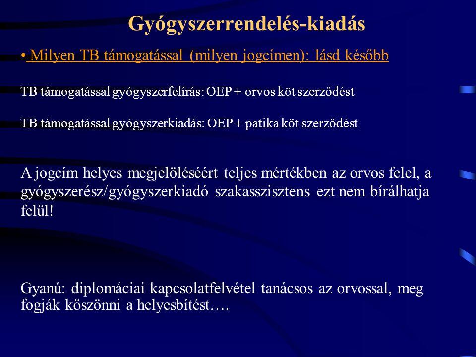 Gyógyszerrendelés-kiadás Milyen TB támogatással (milyen jogcímen): lásd később TB támogatással gyógyszerfelírás: OEP + orvos köt szerződést TB támogatással gyógyszerkiadás: OEP + patika köt szerződést A jogcím helyes megjelöléséért teljes mértékben az orvos felel, a gyógyszerész/gyógyszerkiadó szakasszisztens ezt nem bírálhatja felül.