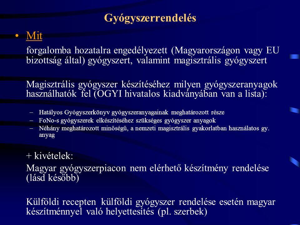 Mit forgalomba hozatalra engedélyezett (Magyarországon vagy EU bizottság által) gyógyszert, valamint magisztrális gyógyszert Magisztrális gyógyszer készítéséhez milyen gyógyszeranyagok használhatók fel (OGYI hivatalos kiadványában van a lista): –Hatályos Gyógyszerkönyv gyógyszeranyagainak meghatározott része –FoNo-s gyógyszerek elkészítéséhez szükséges gyógyszer anyagok –Néhány meghatározott minőségű, a nemzeti magisztrális gyakorlatban használatos gy.