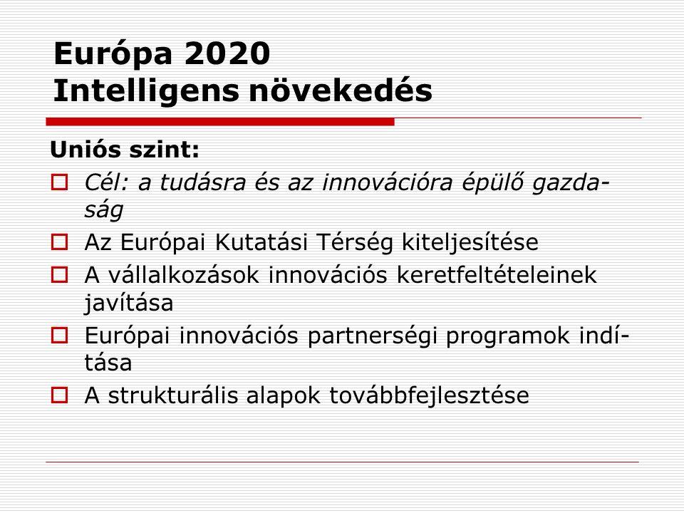 Európa 2020 Intelligens növekedés Uniós szint:  Cél: a tudásra és az innovációra épülő gazda- ság  Az Európai Kutatási Térség kiteljesítése  A vállalkozások innovációs keretfeltételeinek javítása  Európai innovációs partnerségi programok indí- tása  A strukturális alapok továbbfejlesztése
