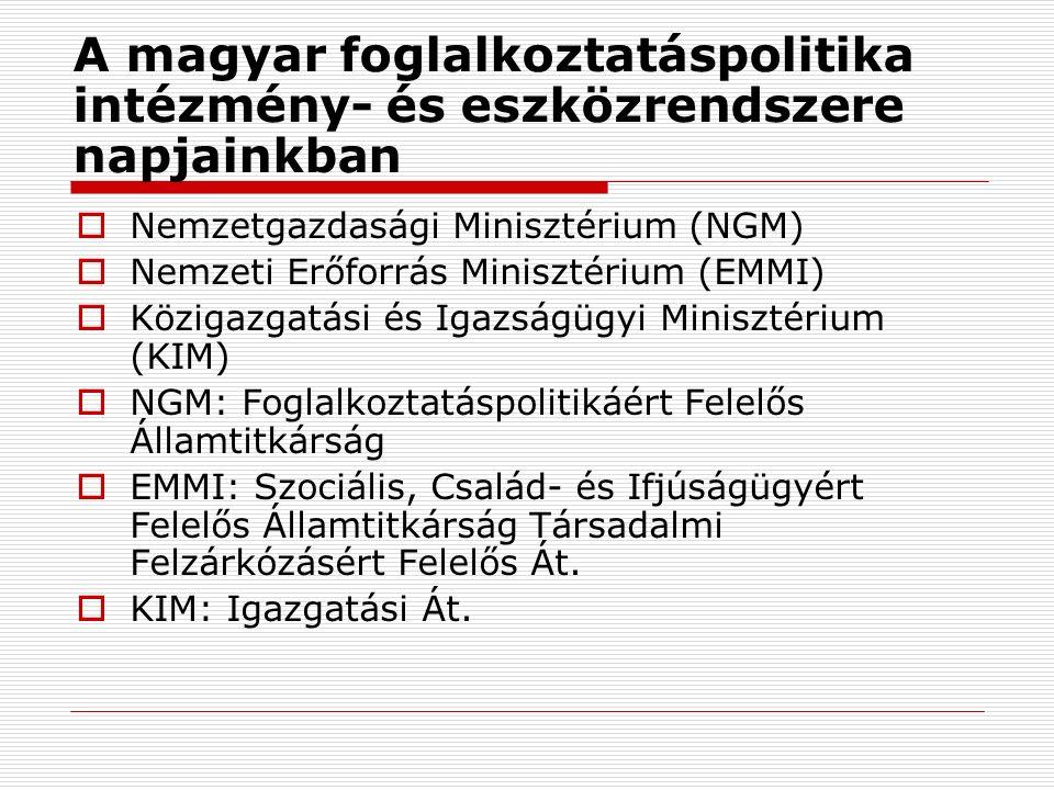 A magyar foglalkoztatáspolitika intézmény- és eszközrendszere napjainkban  Nemzetgazdasági Minisztérium (NGM)  Nemzeti Erőforrás Minisztérium (EMMI)  Közigazgatási és Igazságügyi Minisztérium (KIM)  NGM: Foglalkoztatáspolitikáért Felelős Államtitkárság  EMMI: Szociális, Család- és Ifjúságügyért Felelős Államtitkárság Társadalmi Felzárkózásért Felelős Át.