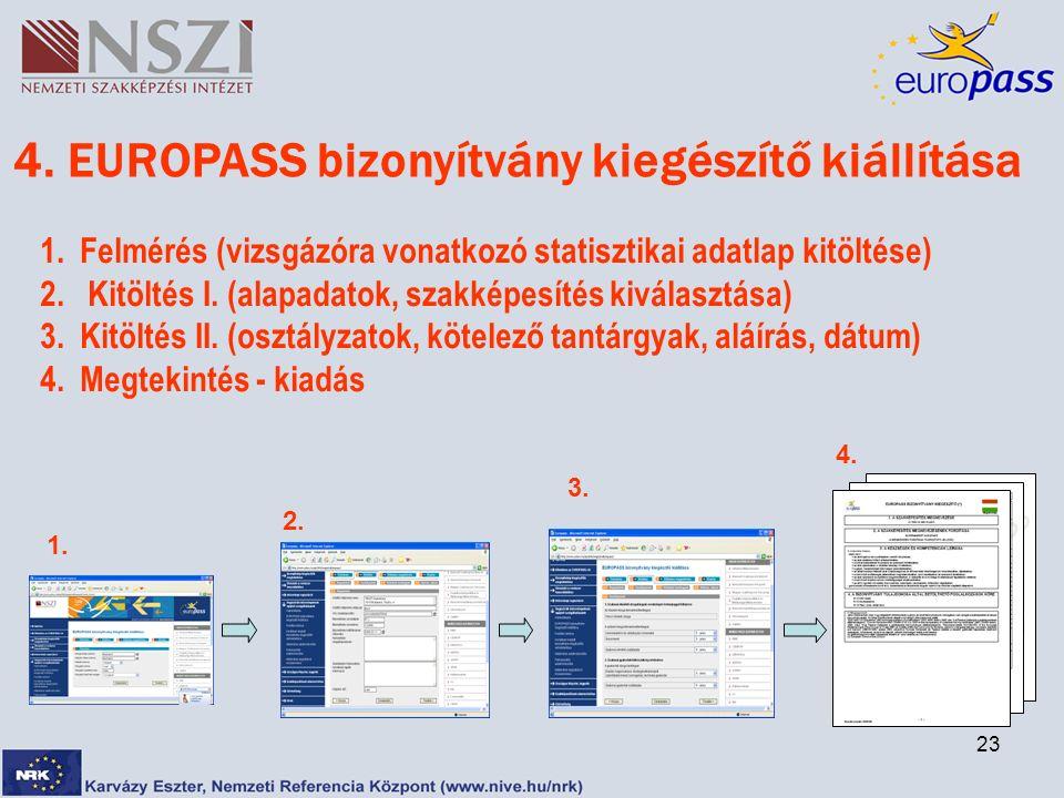 23 1. 2. 3. 4. 4. EUROPASS bizonyítvány kiegészítő kiállítása 1.Felmérés (vizsgázóra vonatkozó statisztikai adatlap kitöltése) 2. Kitöltés I. (alapada