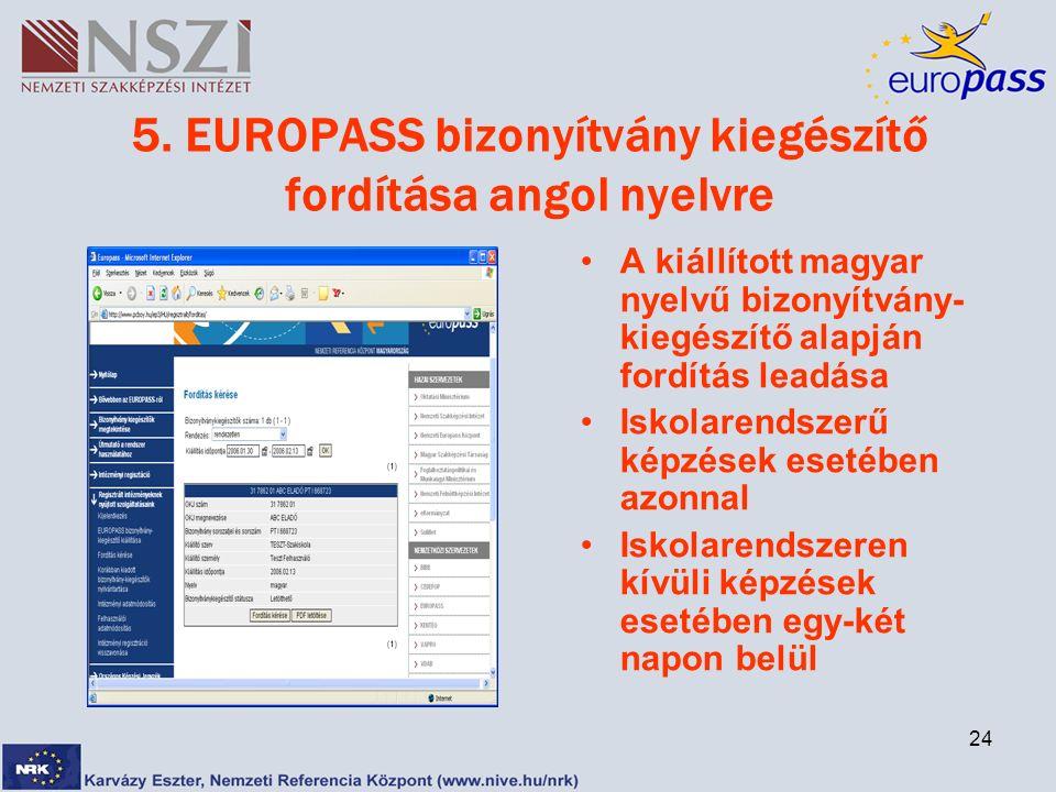 24 5. EUROPASS bizonyítvány kiegészítő fordítása angol nyelvre A kiállított magyar nyelvű bizonyítvány- kiegészítő alapján fordítás leadása Iskolarend
