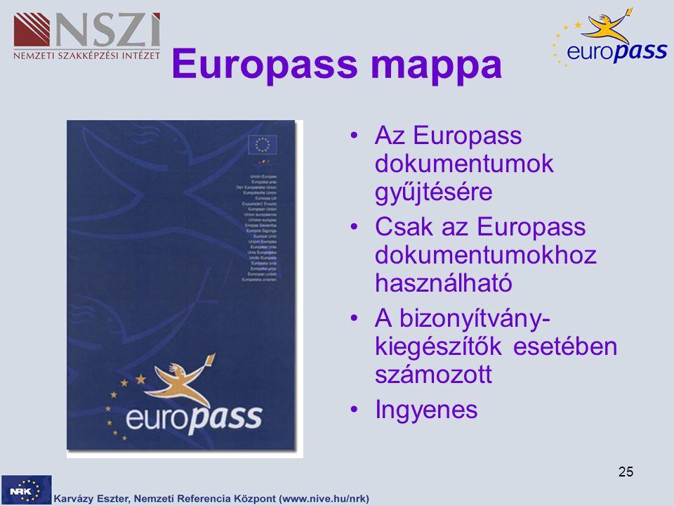 25 Europass mappa Az Europass dokumentumok gyűjtésére Csak az Europass dokumentumokhoz használható A bizonyítvány- kiegészítők esetében számozott Ingyenes