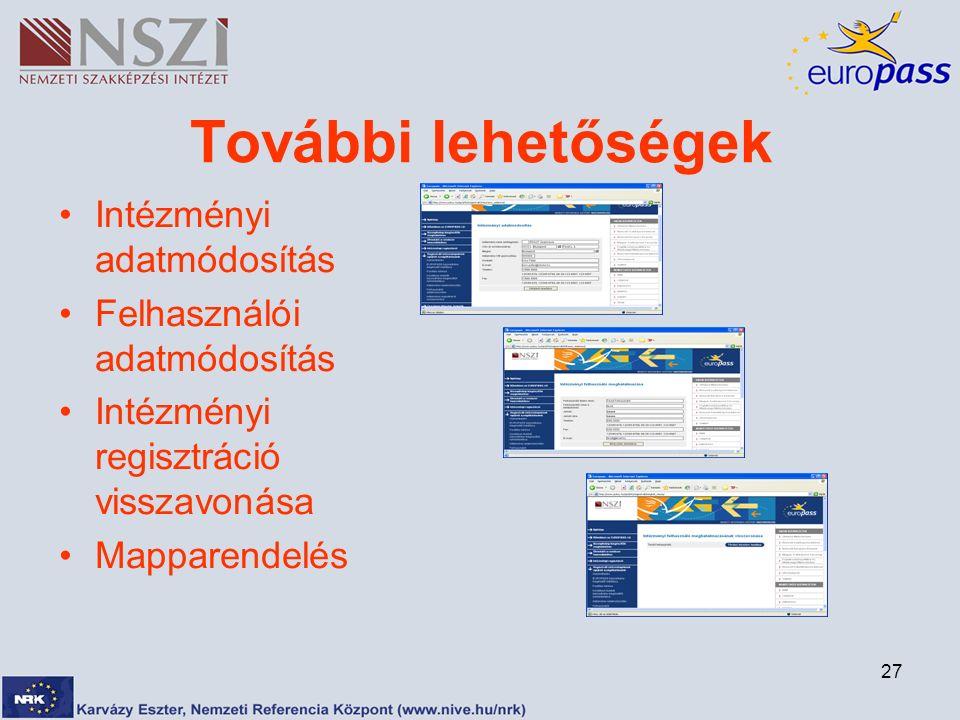 27 További lehetőségek Intézményi adatmódosítás Felhasználói adatmódosítás Intézményi regisztráció visszavonása Mapparendelés