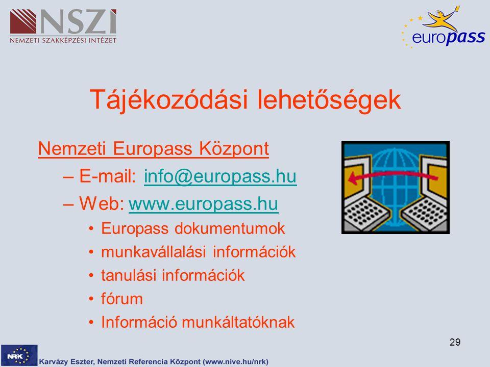 29 Tájékozódási lehetőségek Nemzeti Europass Központ –E-mail: info@europass.huinfo@europass.hu –Web: www.europass.huwww.europass.hu Europass dokumentumok munkavállalási információk tanulási információk fórum Információ munkáltatóknak