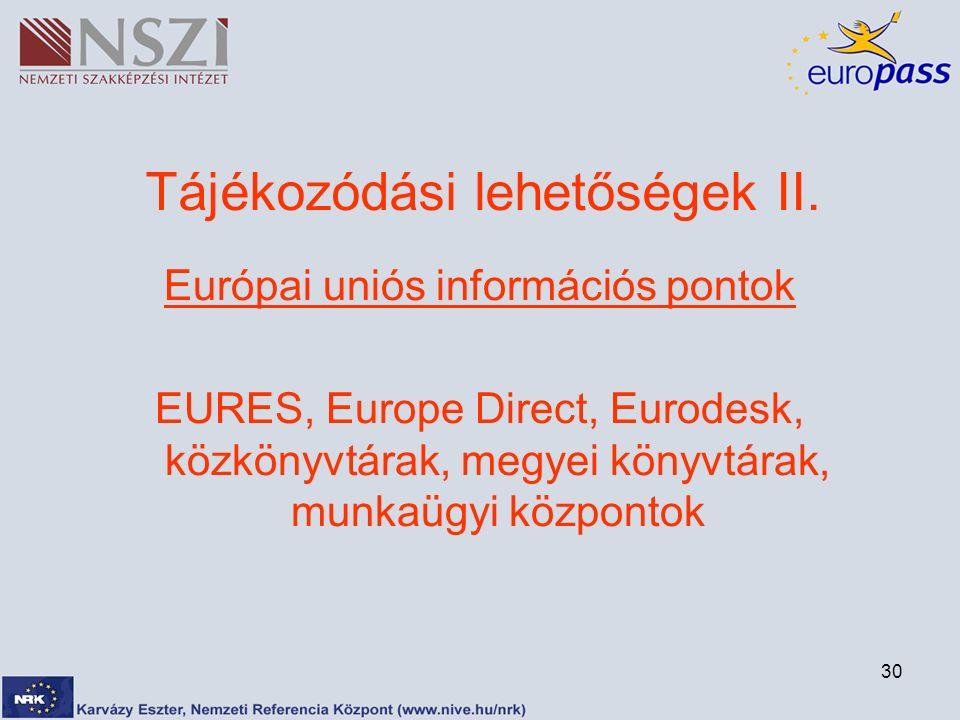 30 Tájékozódási lehetőségek II. Európai uniós információs pontok EURES, Europe Direct, Eurodesk, közkönyvtárak, megyei könyvtárak, munkaügyi központok