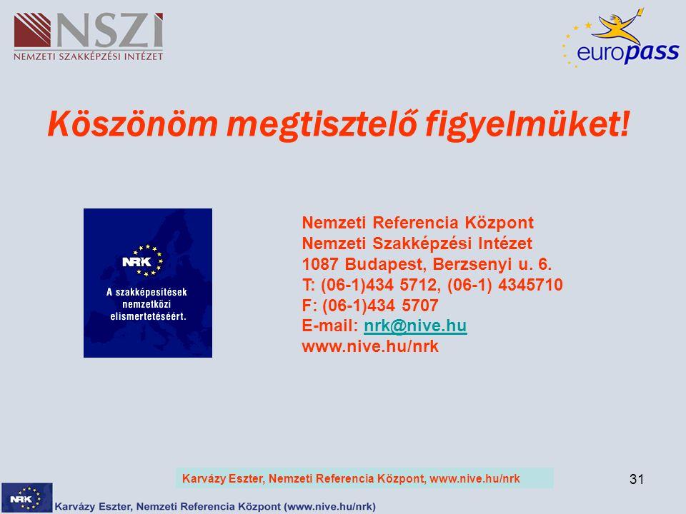 31 Köszönöm megtisztelő figyelmüket! Karvázy Eszter, Nemzeti Referencia Központ, www.nive.hu/nrk Nemzeti Referencia Központ Nemzeti Szakképzési Intéze
