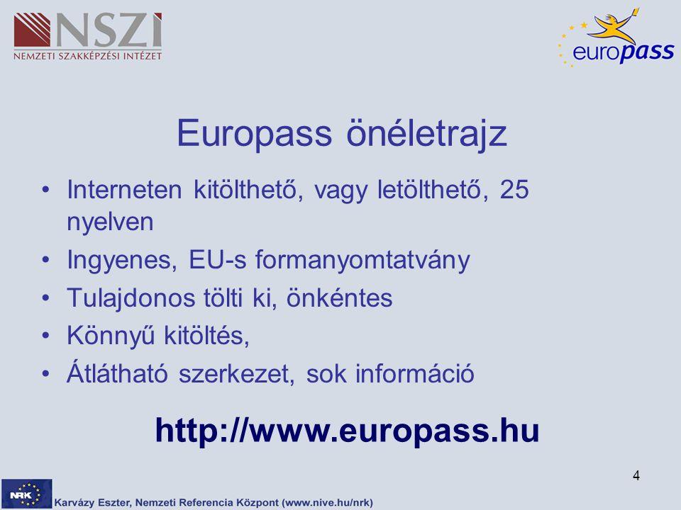 4 Europass önéletrajz Interneten kitölthető, vagy letölthető, 25 nyelven Ingyenes, EU-s formanyomtatvány Tulajdonos tölti ki, önkéntes Könnyű kitöltés, Átlátható szerkezet, sok információ http://www.europass.hu