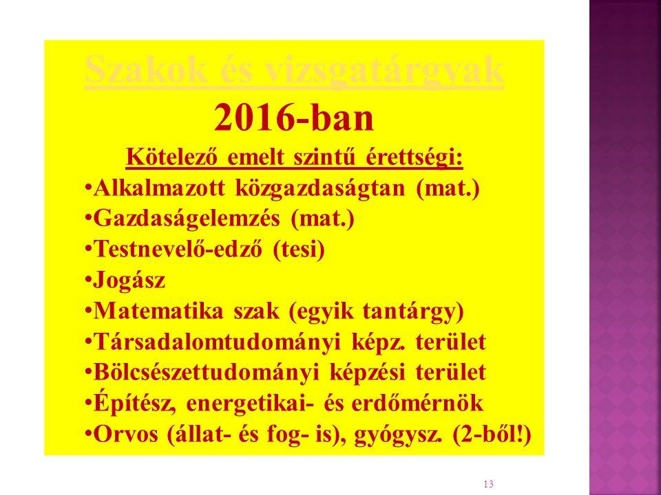 13 Szakok és vizsgatárgyak 2016-ban Kötelező emelt szintű érettségi: Alkalmazott közgazdaságtan (mat.) Gazdaságelemzés (mat.) Testnevelő-edző (tesi) Jogász Matematika szak (egyik tantárgy) Társadalomtudományi képz.