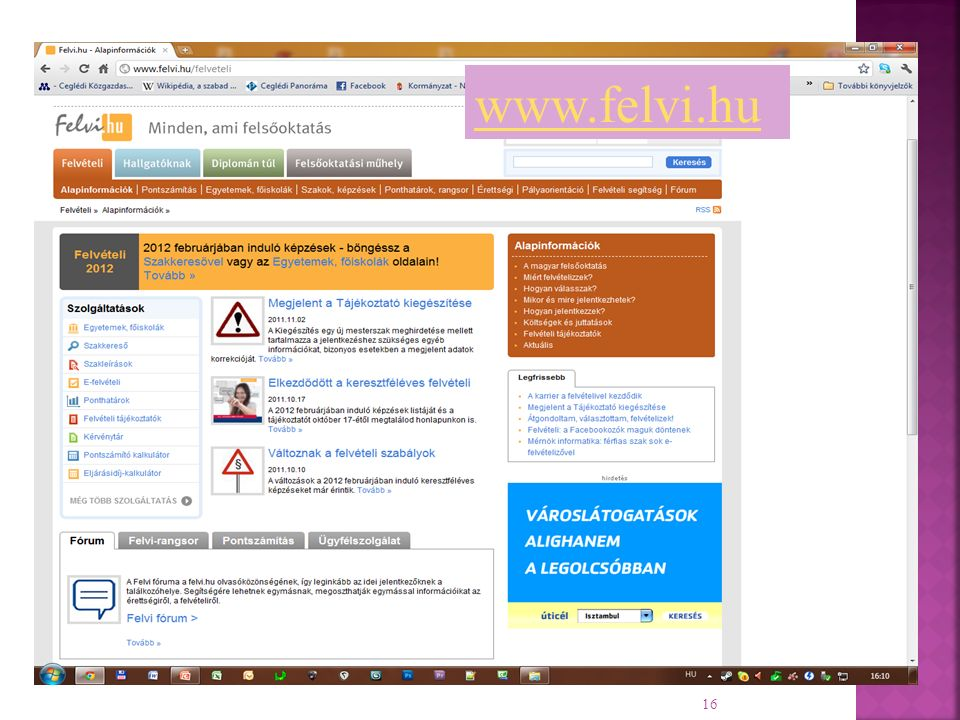 16 www.felvi.hu