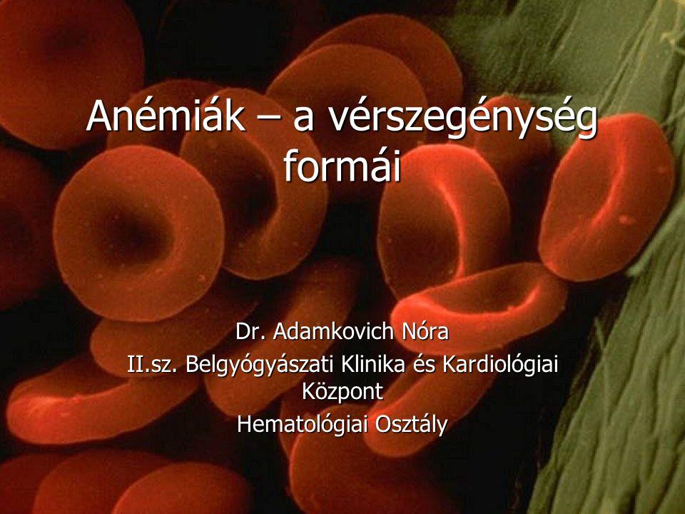 Anémiák – a vérszegénység formái Dr. Adamkovich Nóra II.sz. Belgyógyászati Klinika és Kardiológiai Központ Hematológiai Osztály