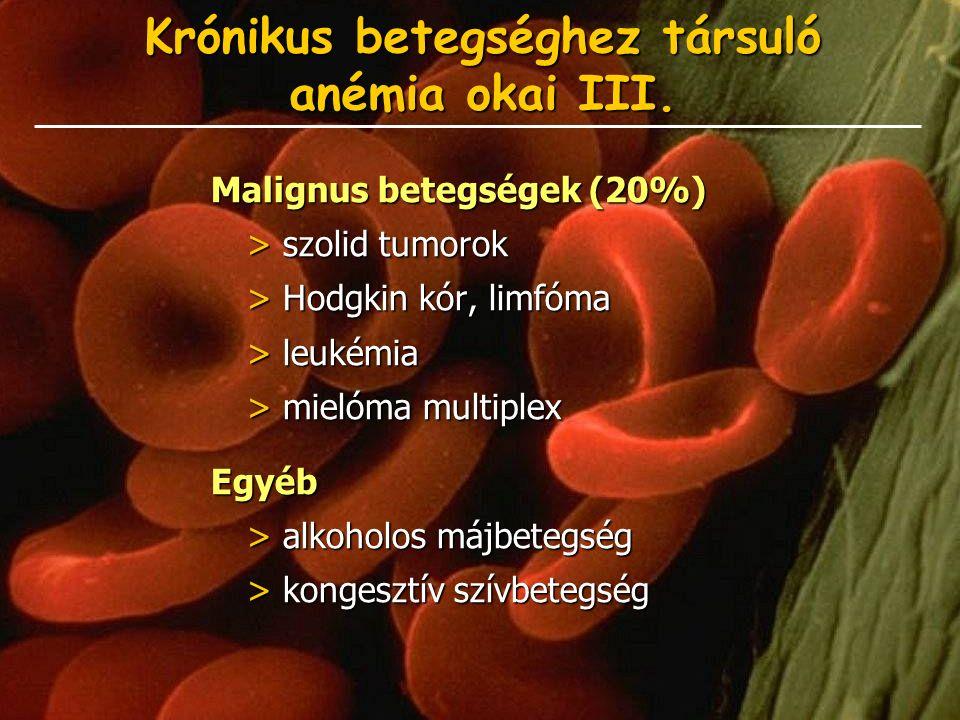 Krónikus betegséghez társuló anémia okai III. Malignus betegségek (20%) > szolid tumorok > Hodgkin kór, limfóma > leukémia > mielóma multiplex Egyéb >