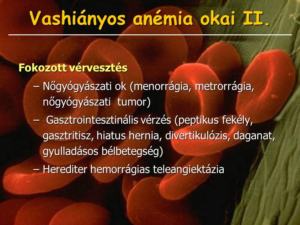 Vashiányos anémia okai II. Fokozott vérvesztés –Nőgyógyászati ok (menorrágia, metrorrágia, nőgyógyászati tumor) – Gasztrointesztinális vérzés (peptiku